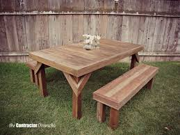 Plans For Building Picnic Table Bench by Build A Cedar Picnic Table The Contractor Chronicles