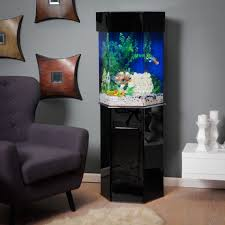 Touch Table Ls Black Corner Shape Fish Tank On The Floor Can Be Decor With