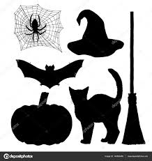 set for witch silhouettes for halloween black white icon vector