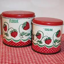 Tin Kitchen Canisters Vintage Wolverine Tin Toy Strawberry Kitchen Canisters From