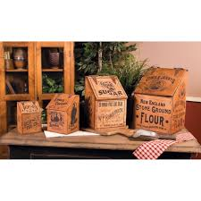 country village shoppe vintage advertising canisters set of 4