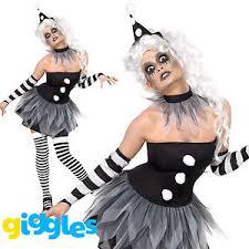 Womens Clown Halloween Costumes Sinister Pierrot Costume Evil Clown Halloween Womens Ladies Fancy