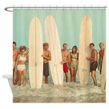 vintage surfers surfing shower curtain by alywear