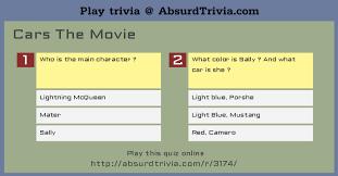 trivia quiz cars movie