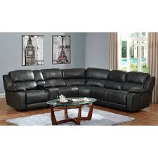 Grey Leather Recliner Steamboat Charcoal Gray Leather Match 6 Piece Reclining Sectional