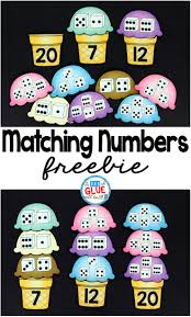 matching numbers with ice cream a dab of glue will do