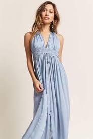 light blue halter maxi dress lyst forever 21 boho me plunging halter maxi dress in blue