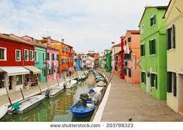 Burano Italy Colorful Canal Scene Burano Venice Italy Stock Photo 130020917