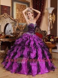 beautiful quinceanera dresses eleagant sweetheart purple and black organza beading and ruffles