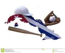 Cuban Map Cuban Map With Flag Baseball Tools Royalty Free Stock Image