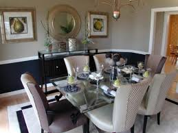 formal dining room paint ideas with square glass table and large