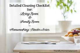 living room checklist homemaking binder series detailed cleaning checklists for living