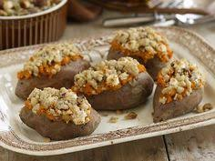 stuffed sweet potatoes with pecan and marshmallow streusel