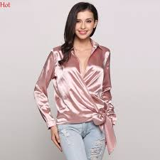 wrap shirts blouses turn v neck blouses wrap bowknot shirts clothing