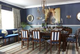 Blue Dining Chairs Blue Dining Room Ideas Led Lamp Wooden Floor Bar Stools Dining