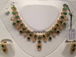 emerald gold necklace images Cz emerald necklace 53 grams jewellery designs jpg