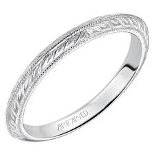 engravings for wedding bands artcarved imani 14k white gold wedding ring featuring knife edge