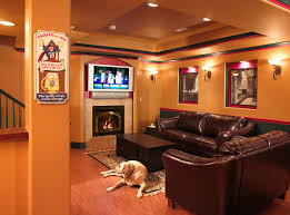 Luxury Living Room by Basement Luxury Living Room Basement By Hgtv With Orange Walls
