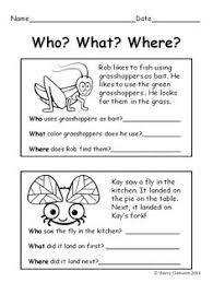 free first grade reading comprehension passages set 1 work