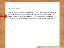 how to write a leave of absence letter with pictures wikihow