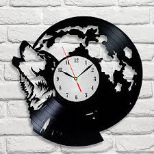 wolf moon design vinyl record clock home wall shop office