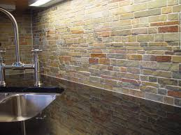 classic brick slate backsplash with corner white undermount sink