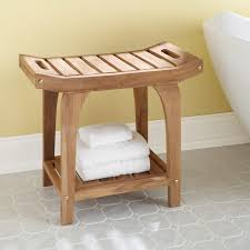 teak rectangular shower stool with handles bathroom crafted of durable water resistant teak wood this stool is a natural for the bath 378865