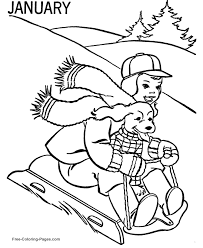 winter coloring pages sledding 07