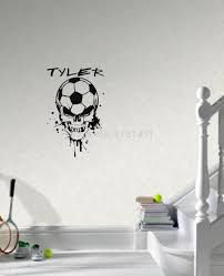 soccer ball skull head with custom name wall decals vinyl stickers