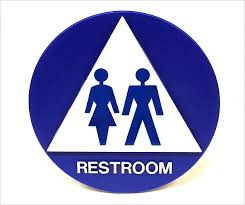 unisex restroom door sign title 24 compliant tap plastics
