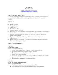 Hotel Resume Format Sample Resume Hotel Hostess Templates