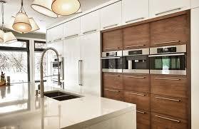 cuisine contemporaine en bois cuisine contemporaine avec panneaux de bois et panneaux laqués blancs