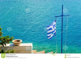 Greek Flag Background Cross With Greek Flag And Sea Aegean Sea Island Stock Image