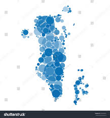 Map Of Bahrain Abstract Map Bahrain Filled Blue Circles Stock Illustration