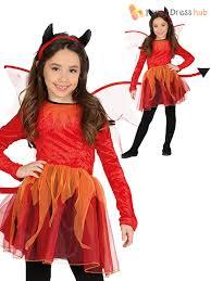 girls red little devil costume halloween childs kids fancy dress