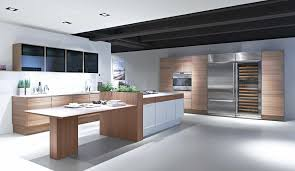 contemporary kitchen wood veneer wooden island edition
