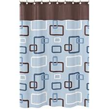 Orange And Blue Shower Curtain Amazon Com Blue And Brown Geo Bathroom Fabric Bath Shower Curtain