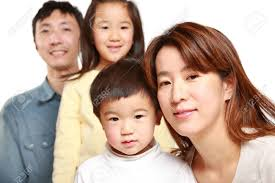 japanese family of four stock photo picture and royalty free
