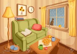 Livingroom Cartoon Vector Illustration Of Cozy Autumn Living Room With Rain Outside