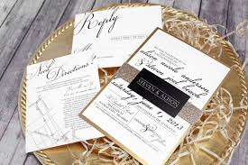 wedding invitations gold and white black white gold wedding invitation set classic modern
