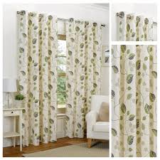 Floral Curtains April Green Floral Ring Top Eyelet Lined Curtains 4yh Textiles