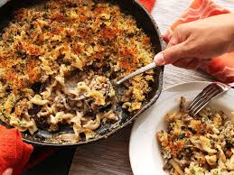 crispy baked pasta with mushrooms sausage and parmesan cream