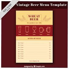 vintage beer menu in flat style vector free download