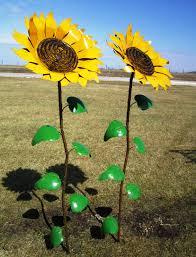 67 recycled metal sunflower stake yard decor
