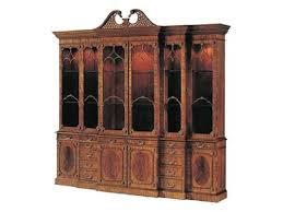 Break Front Cabinet Light Crotch Mahogany Lighted Breakfront China Cabinet Glass