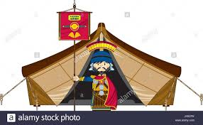 cute cartoon ancient roman centurion soldier at tent with banner