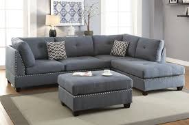 Sofa Ottoman Set Poundex F6975 Blue Grey Fabic 3pc Reversible Chaise Sectional Sofa