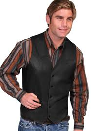 mens scully black lambskin leather on western vest