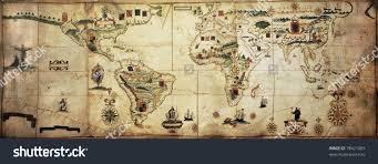 Antique World Map by Antique World Planisphere Portolan Map Spanish Stock Photo