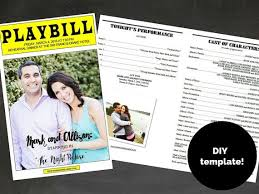 playbill wedding program playbill broadway template for rehearsal dinner program gifts